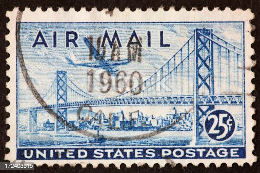 airmail stamp with the Oakland-SanFrancisco Bay Bridge.