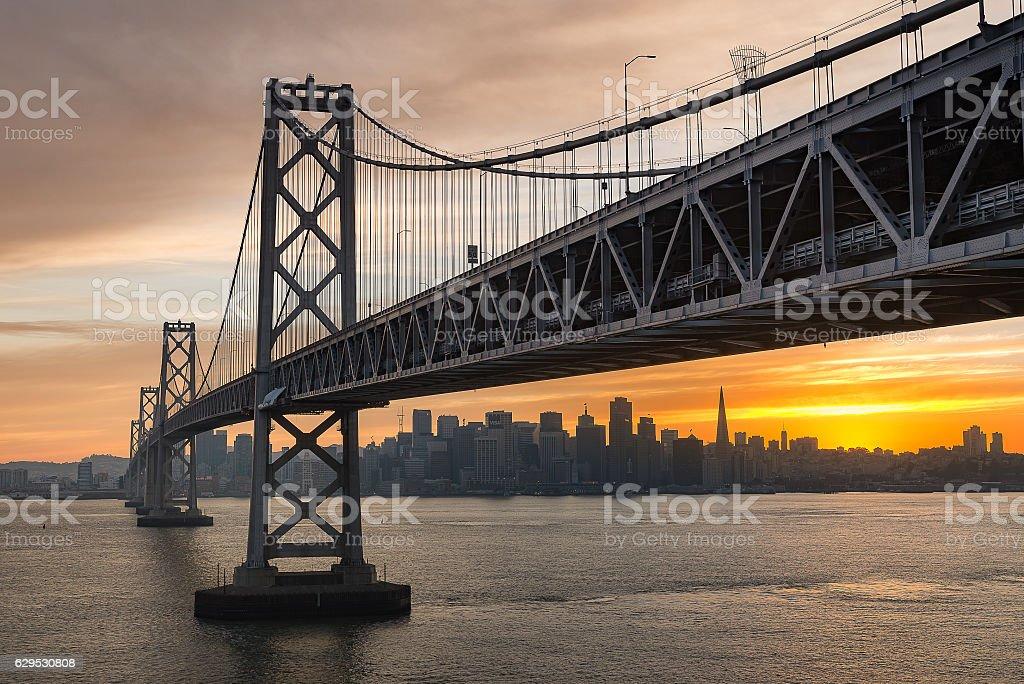 Bay Bridge sunset stock photo
