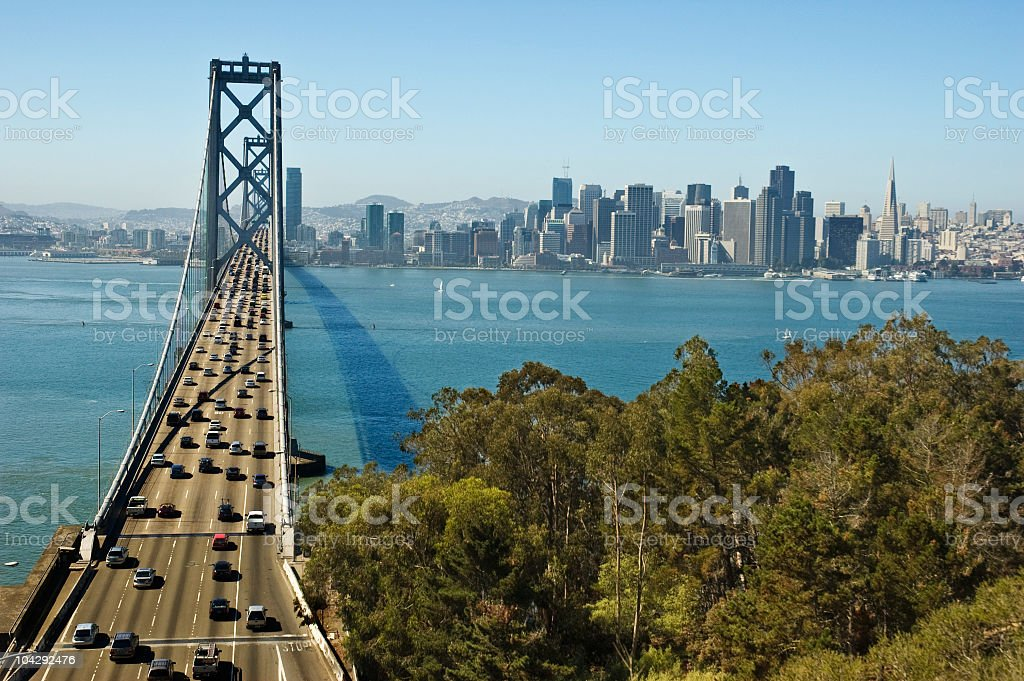 Bay Bridge Traffic Into San Francisco Stock Photo & More