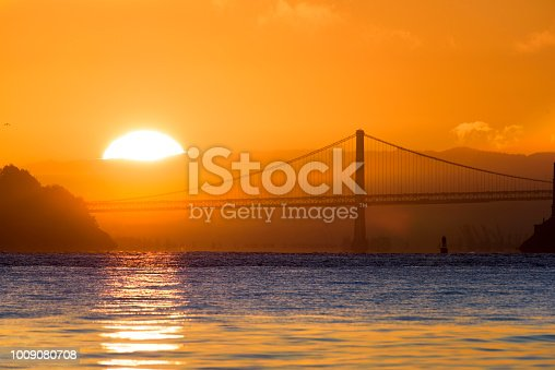 Bay Bridge and rising sun