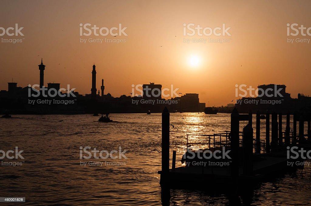 Bay Creek at sunset in Dubai stock photo