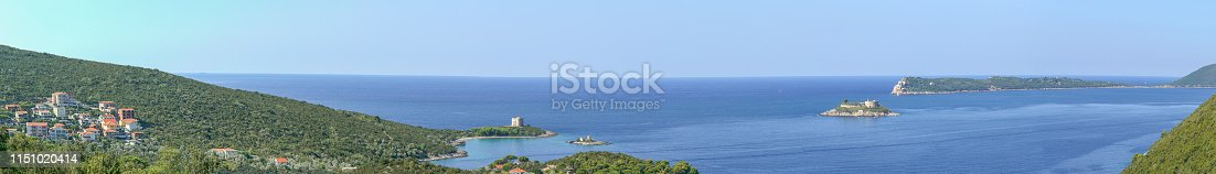 Bay Gertsegnovska in Adriatic Sea and Entrance to Bay of Kotor. Calm sea and clear blue sky. Island Zanjic with Monastery, Punta di Arza Fort at Cape of Miriste, Island Mamula with Fort. Panoramic sea landscape