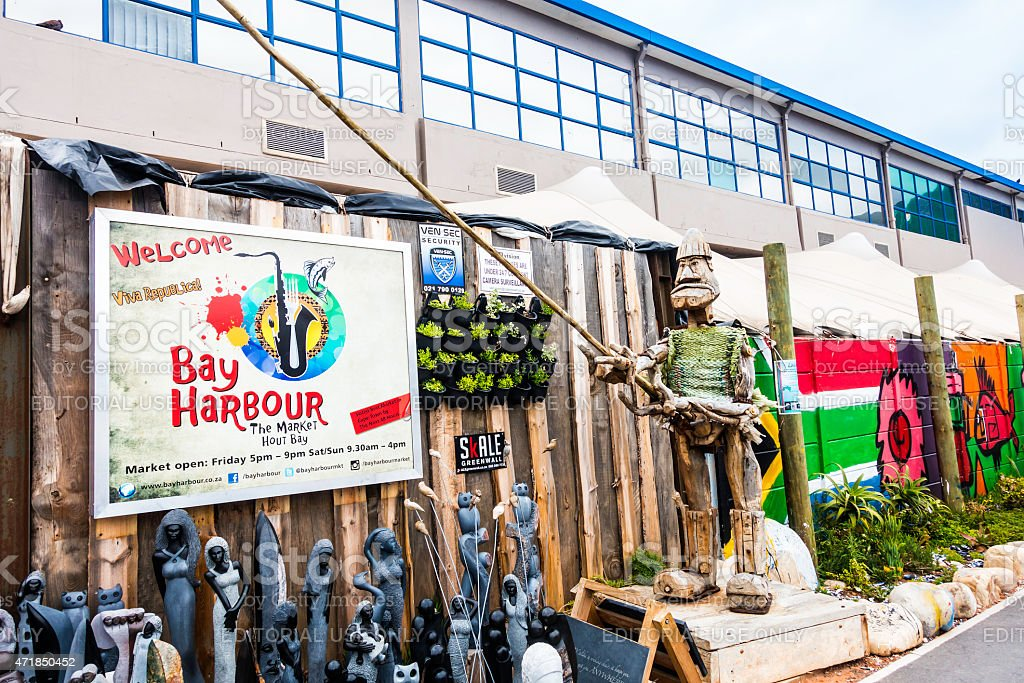 Bay Harbour market entrance in Hout Bay stock photo