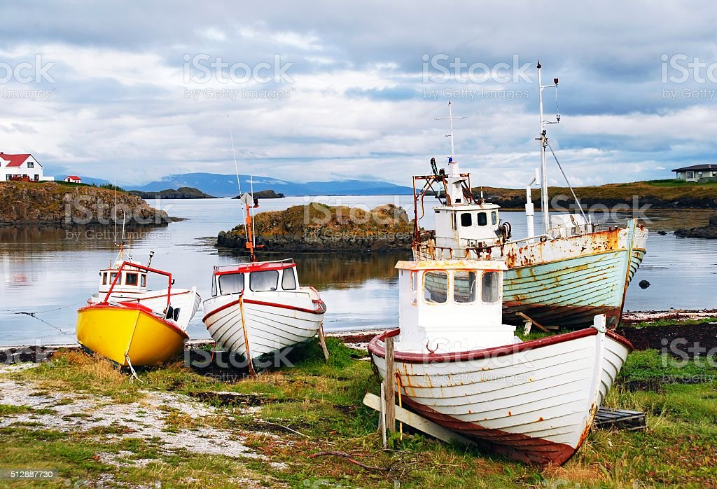 Bay in Skykkisholmur, Snaefellsnes Peninsula,Iceland stock photo