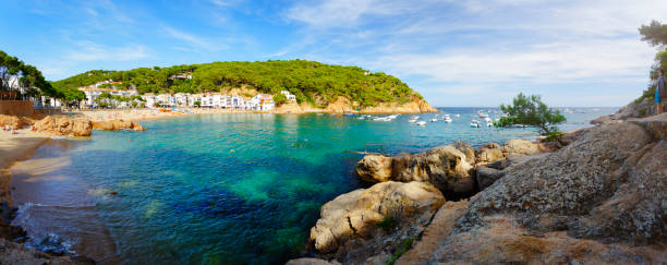 Bay in Tamariu on Costa Brava, Spain. stock photo