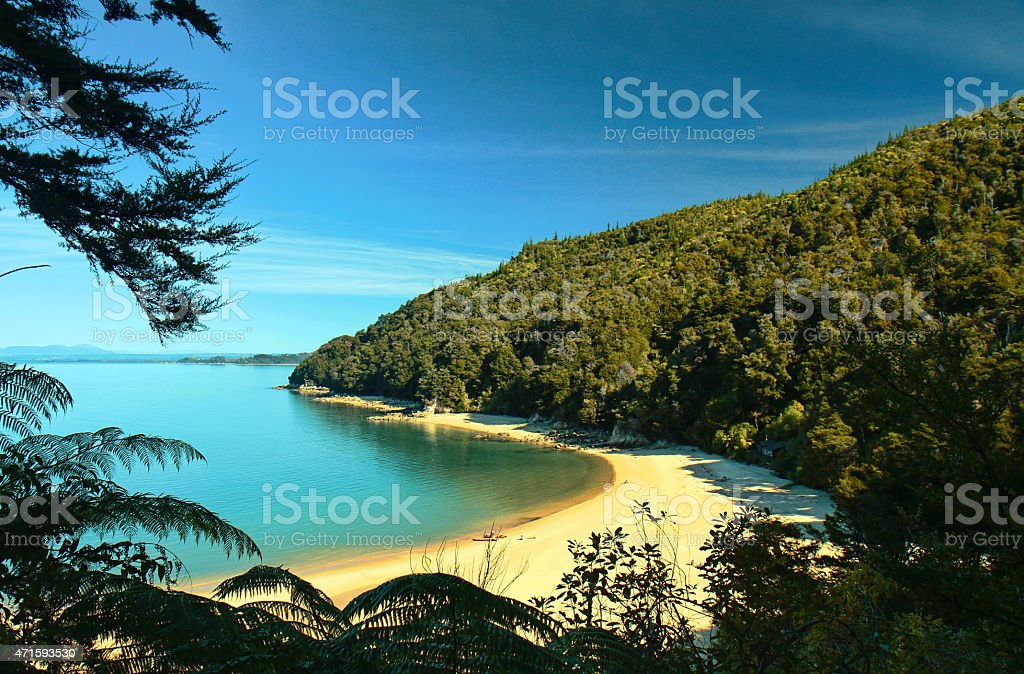 Bay in the Abel Tasman National Park stock photo