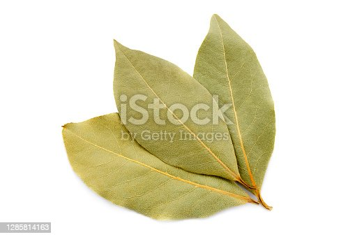 Bay leaf isolated on white background. Three dry bay leaves isolated on white background, top view. Fragrant dry bay leaves. Dry bay leaf, close-up, top view.