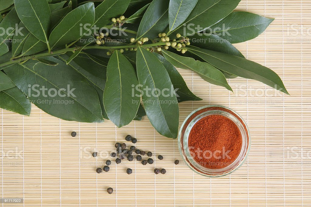 bay leafs and spices stock photo
