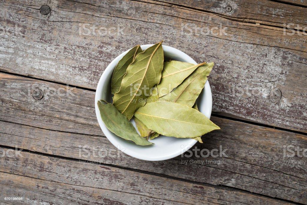 Bay leaves in white bowl stock photo