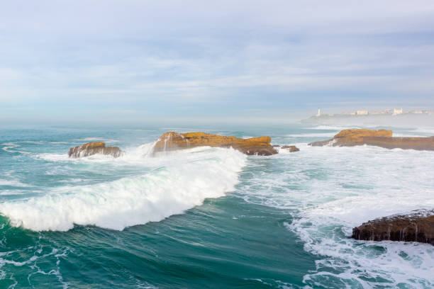 Bay of Biscay in Biarritz, France stock photo