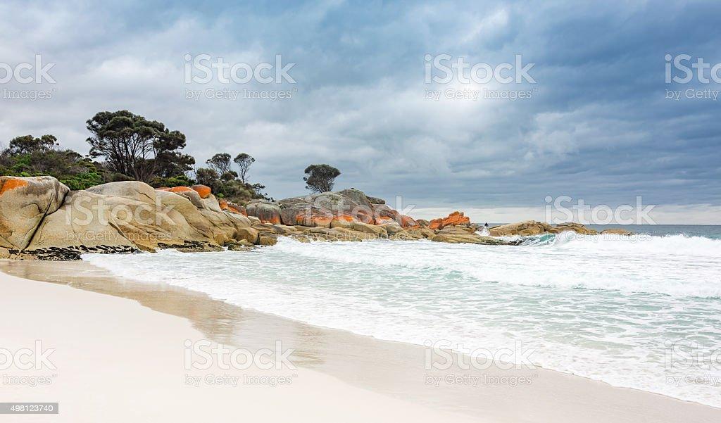 Bay of Fires White Sand Beach Tasmania Panorama Australia stock photo