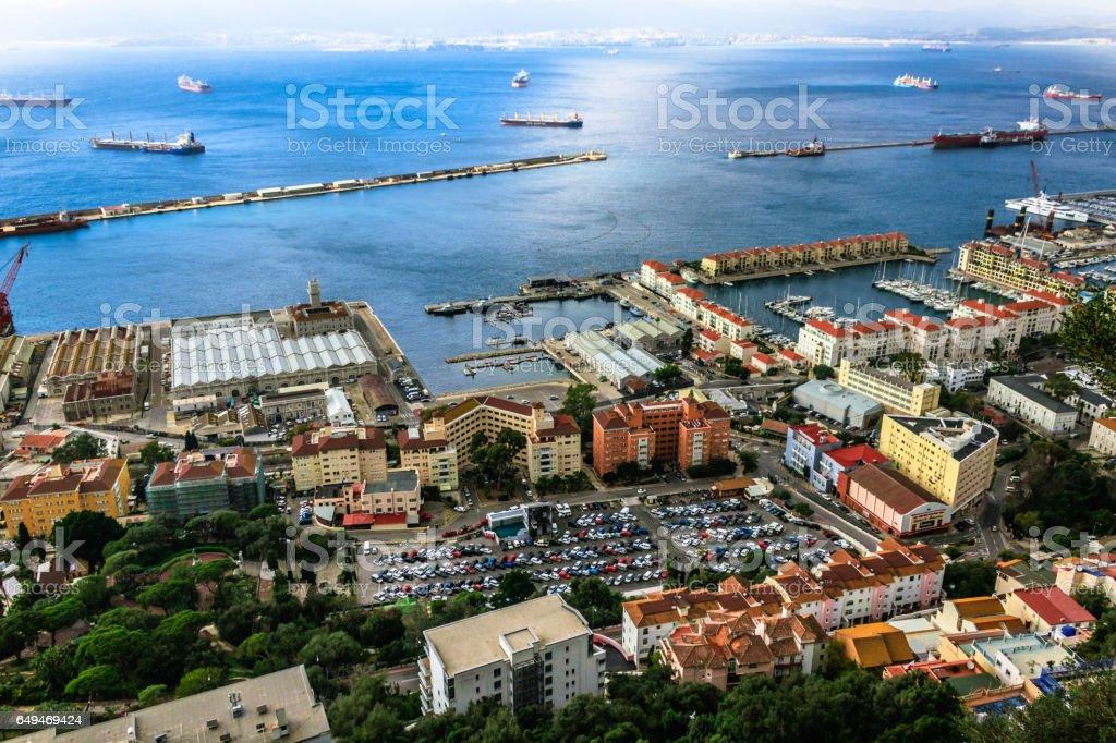 Bay of Gibraltar and Gibraltar Town stock photo