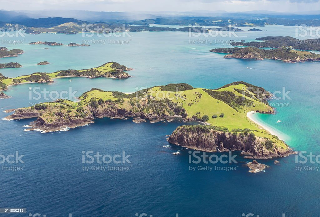 Bay of Islands from the air stock photo