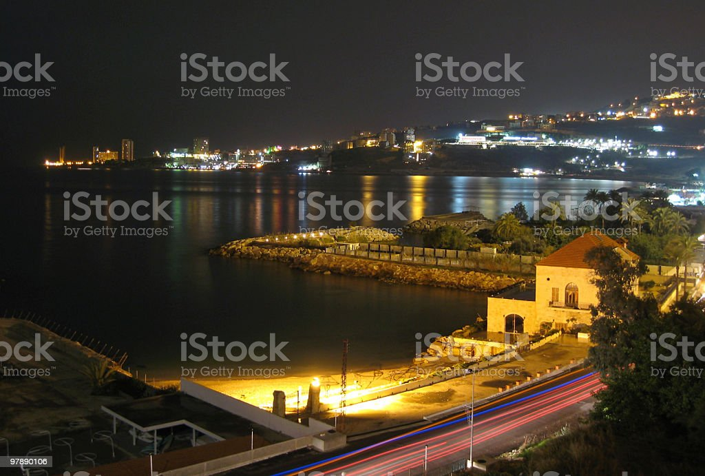 Bay Of Jounieh At Night royalty-free stock photo