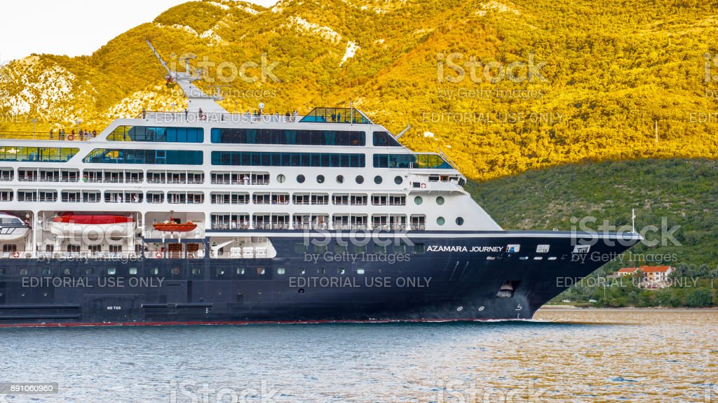 Bay of Kotor, a winding bay of the Adriatic Sea in southwestern Montenegro. stock photo