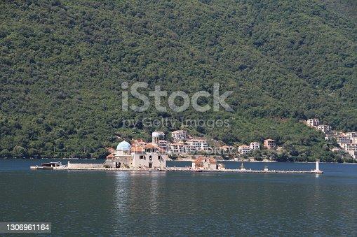 Perast, Montenegro - July 11, 2012: St. George island or Island of Dead in Kotor Bay near Perast, Montenegro