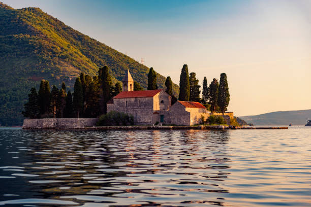 Bay of Kotor – UNESCO World Heritage Site, Our Lady of the Rocks Church stock photo