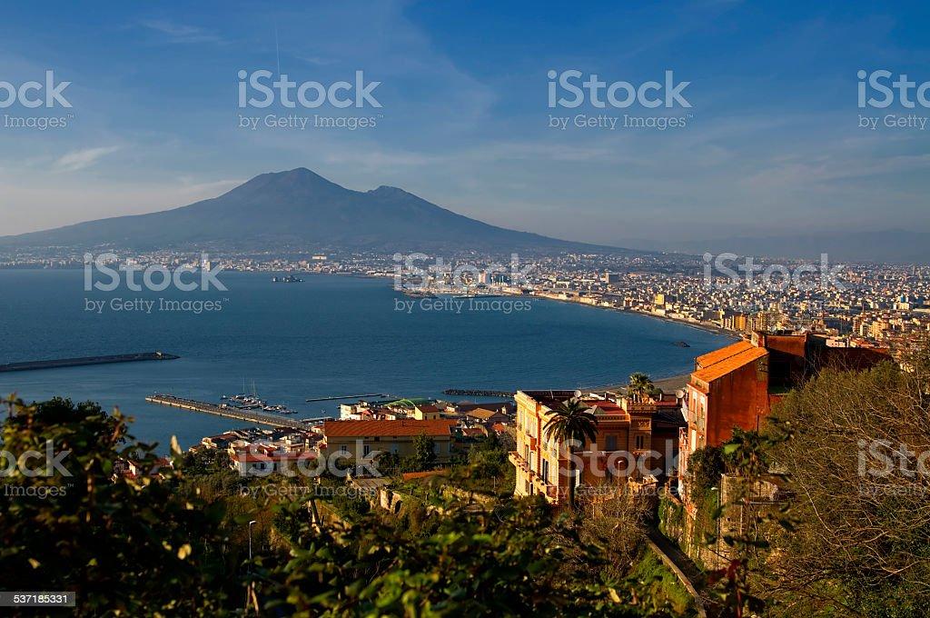 Bay of Naples and Mount Vesuvius stock photo