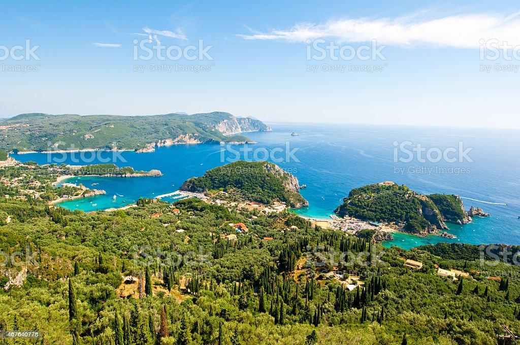 Bay of Palaiokastritsa with the monastery on the rock. Corfu. stock photo