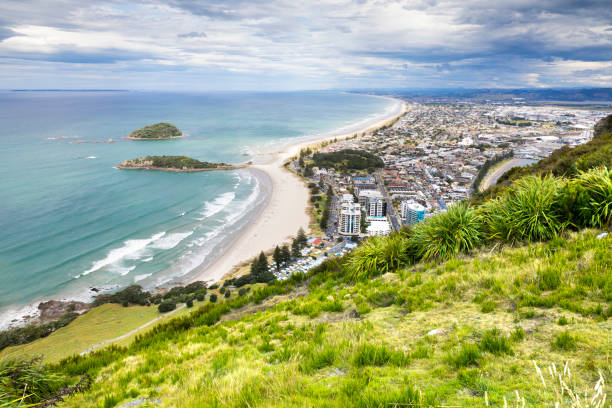 Bay Of Plenty view from Mount Maunganui stock photo