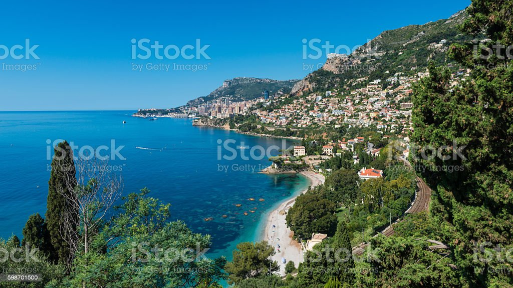 Bay of Roquebrune Southern France with Monaco in the distance stock photo