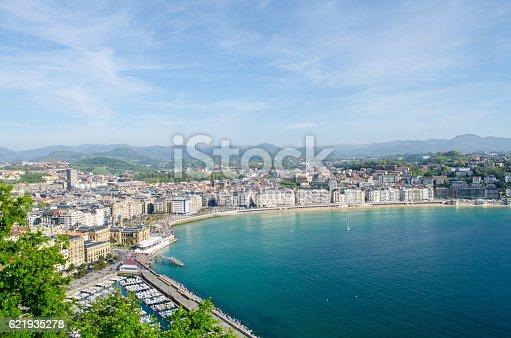 General view of the beautiful San Sebastian bay.