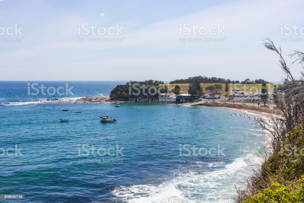 Bay View of the Haven Boat Harbour at Terrigal stock photo