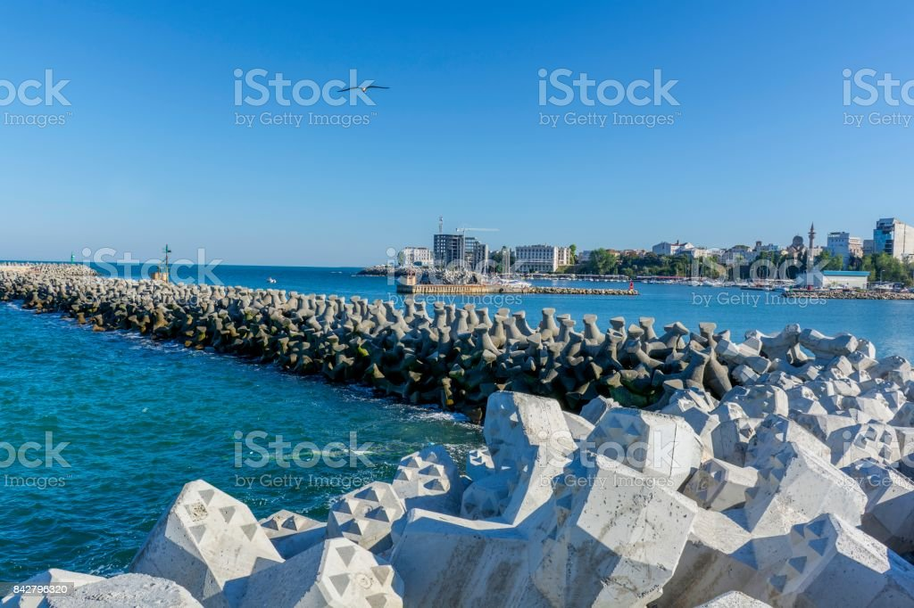 Bay view of the port town of Tomis, Constanta. stock photo