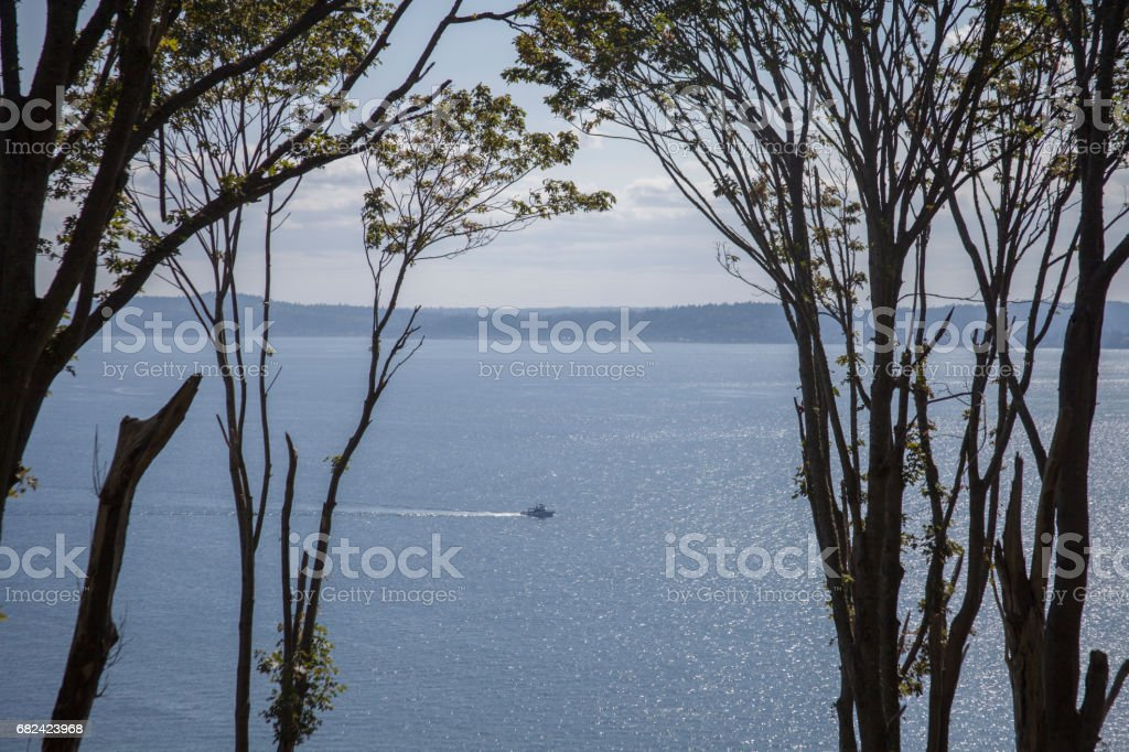 Bay View With Boat royalty-free stock photo