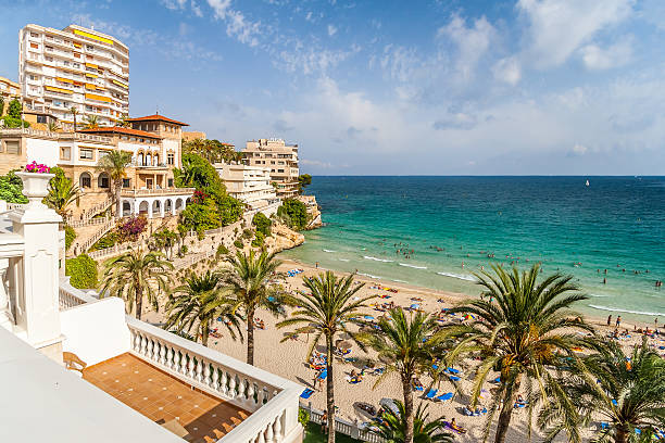 Bay with a beach and hotels in Mallorca
