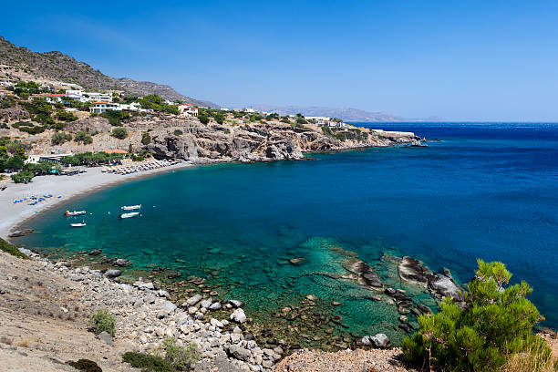 Bay with a beach on the island of Crete stock photo
