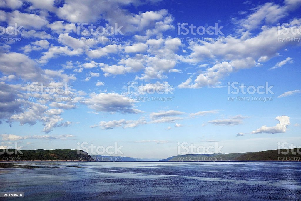 Bay with cloudy sky stock photo