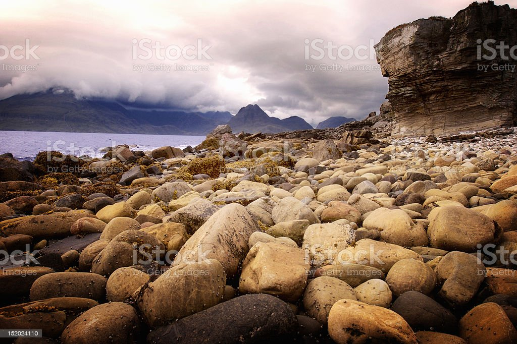Bay with pebbles stock photo