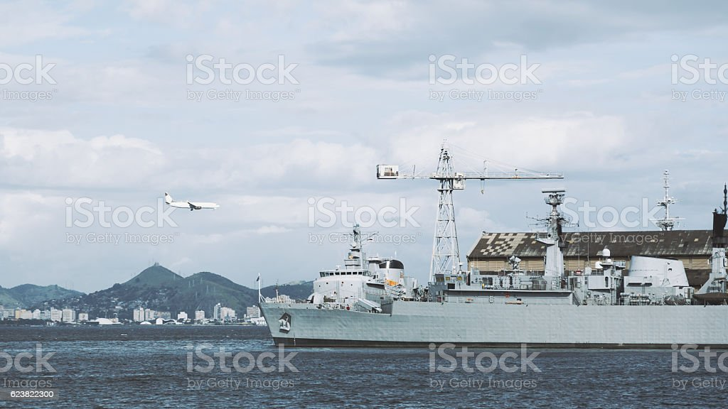 Bay with ships and landing airplane in Rio de Janeiro stock photo