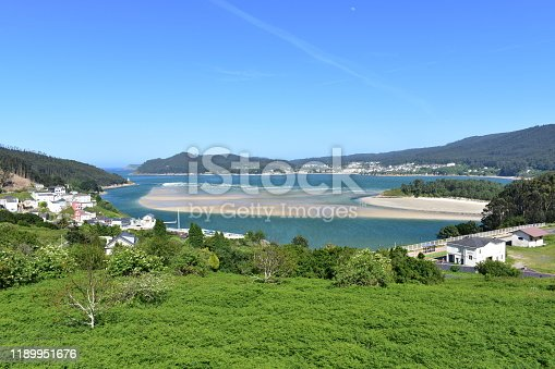 El Barquero, A Coruña Province, Galicia Region, Spain. Famous coastal village and Sor river bank with idyllic beach.