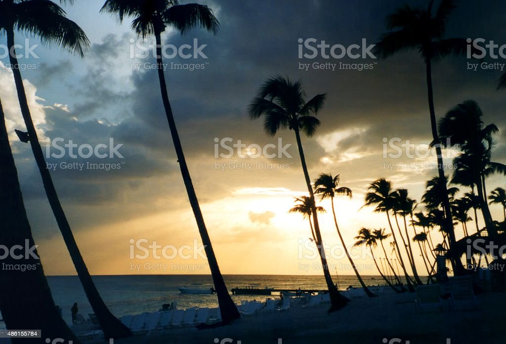 Bayahibe beach at sunset, Dominican Republic stock photo
