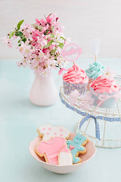 Bayb shower cupcakes and cookies stock photo