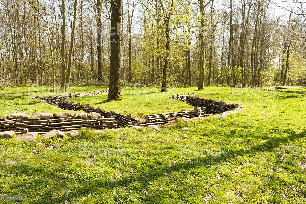 Bayernwald wooden trench of world war 1 stock photo