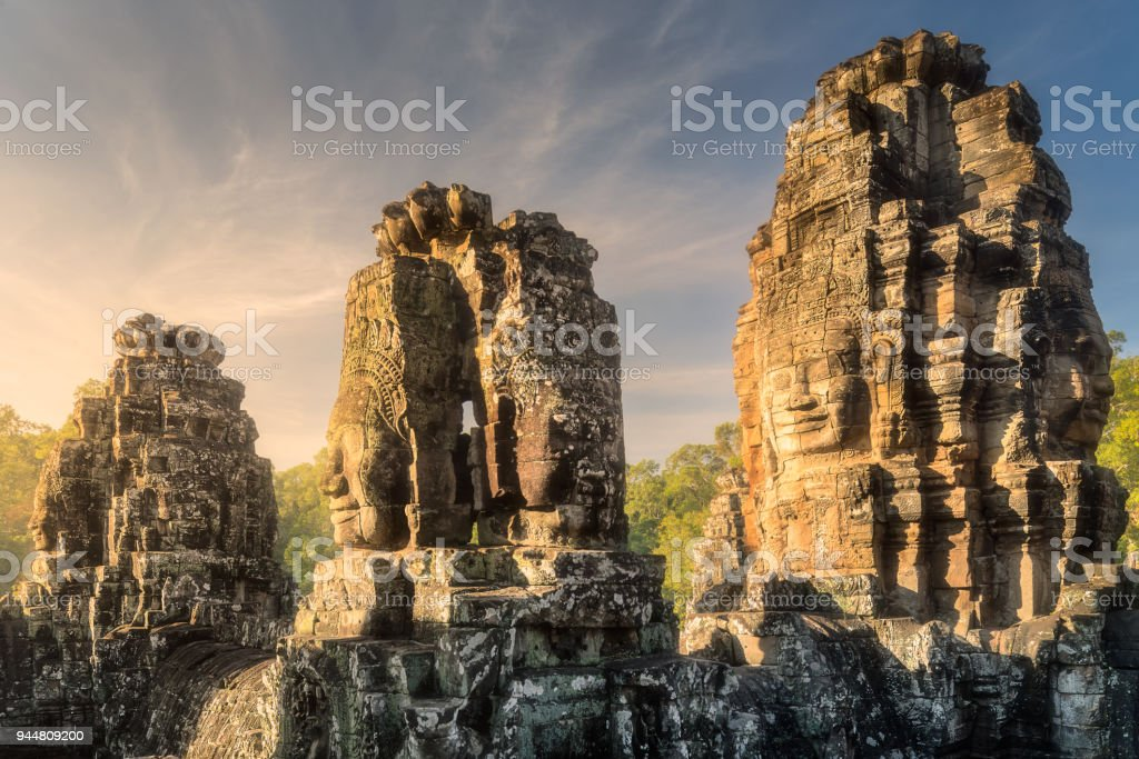 Bayon Angkor with stone faces Siem Reap, Cambodia stock photo