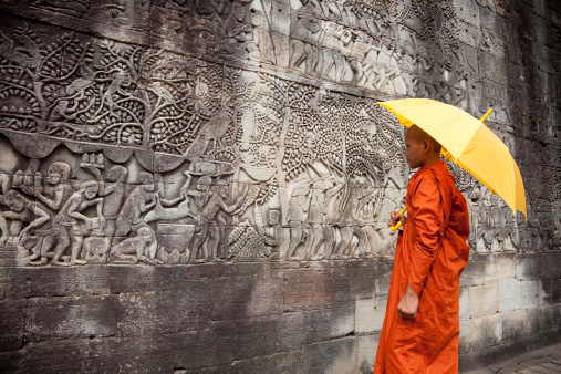istock Bayon bas-reliefs with monk 147039678