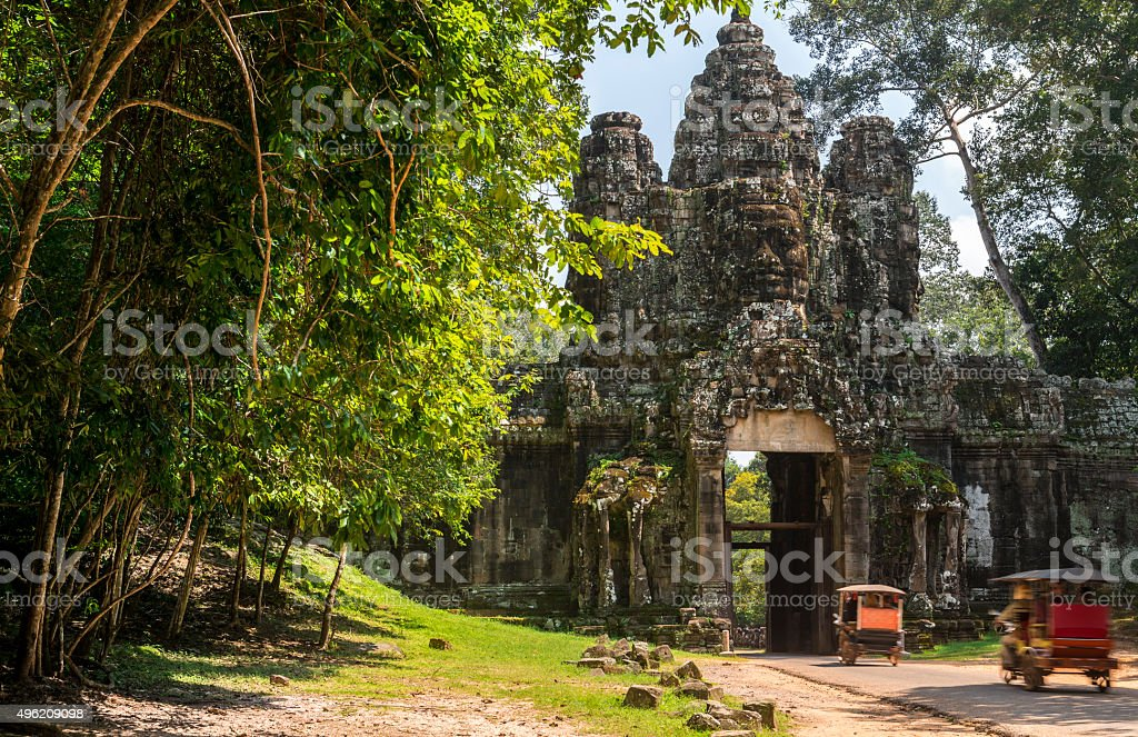 Bayon gate at Angkor Thom at Angkor Wat Heritage site stock photo