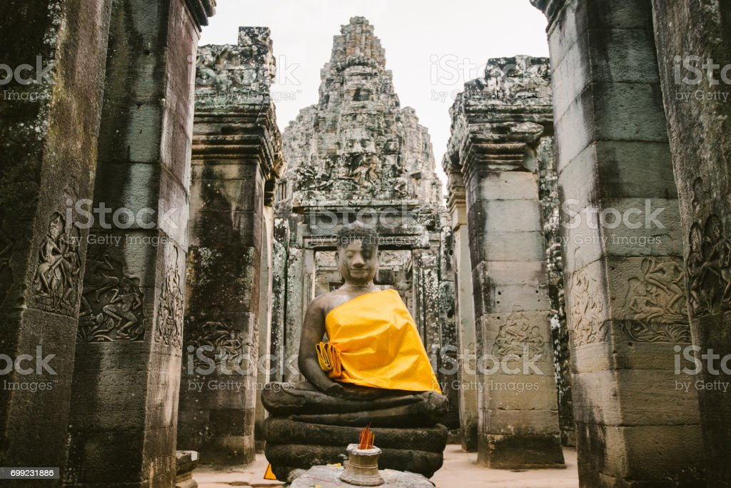 Bayon temple in Angkor in Cambodia stock photo