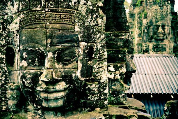 Bayon Temple Sculptures stock photo