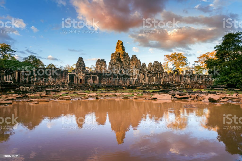 Bayon Temple with giant stone faces, Angkor Wat, Siem Reap, Cambodia. royalty-free stock photo