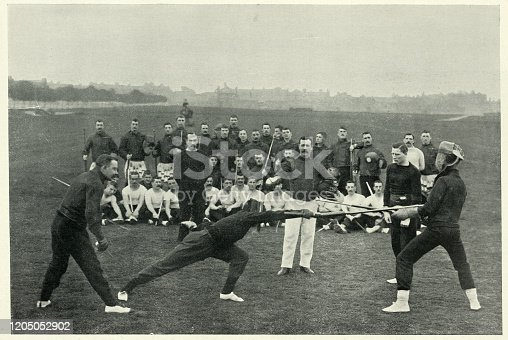 Vintage photograph of Bayonet class drill at Aldershot, British military training, 1890s.  19th Century
