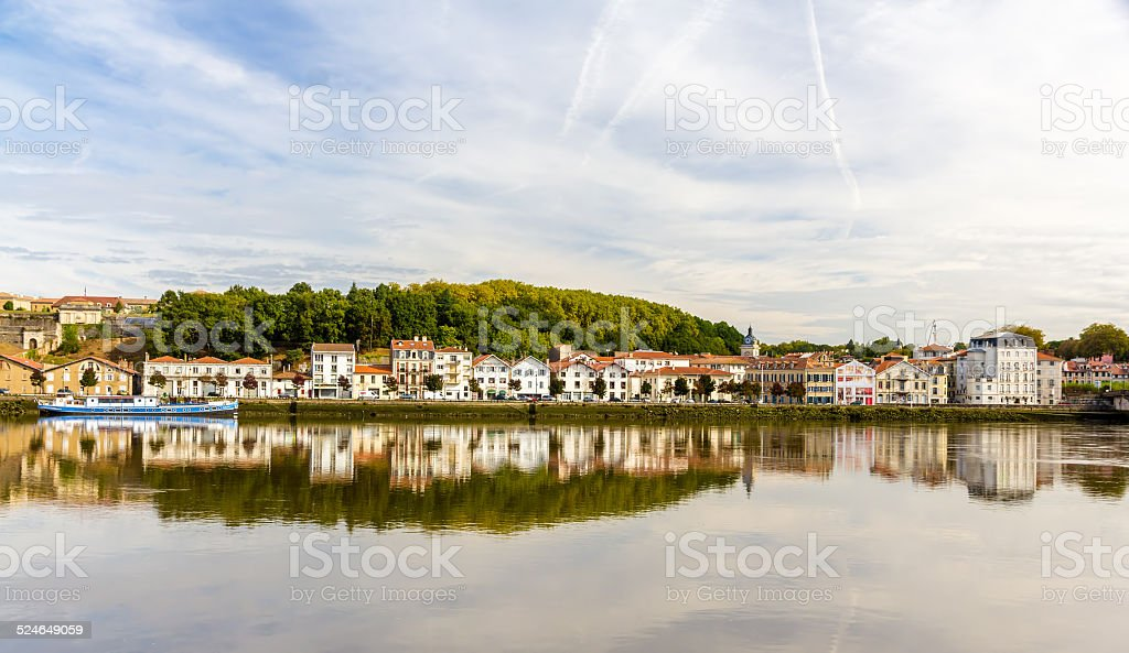 Bayonne city over the Nive river - France stock photo
