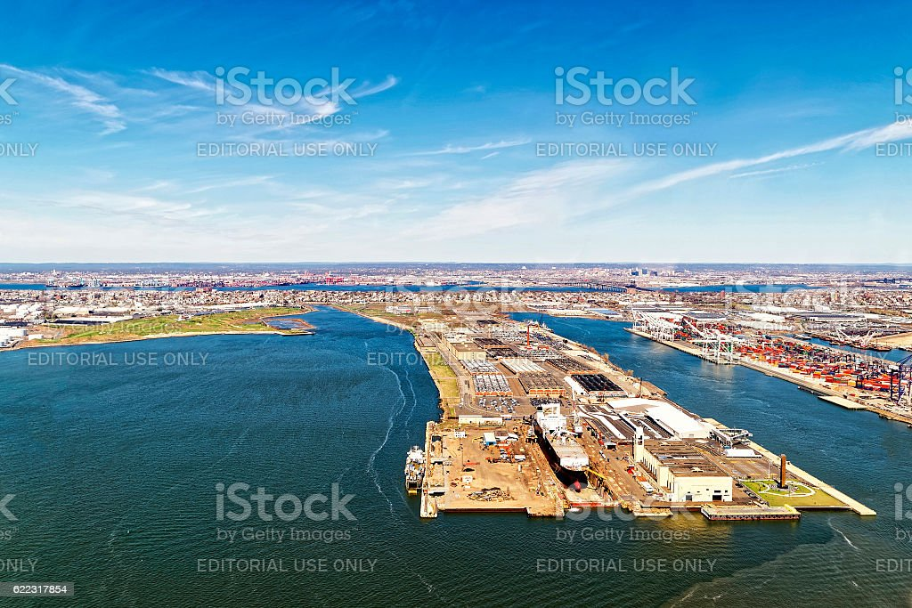 Bayonne Dry Dock and Repair and Global Container Terminal stock photo