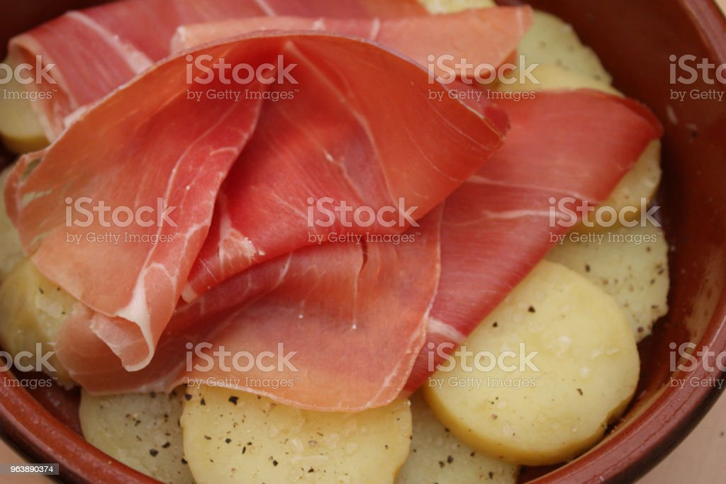 Bayonne ham and boiled potatoes - Royalty-free Appetizer Stock Photo