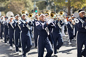 New Orleans, Louisiana, USA - November 25, 2017, The Bayou Classic Parade is a Thanksgiving Day themed parade prior to the annual college football game between the Grambling State University Tigers and the Southern University Jaguars since November 11 1932. In this photo members of Huntington High School.