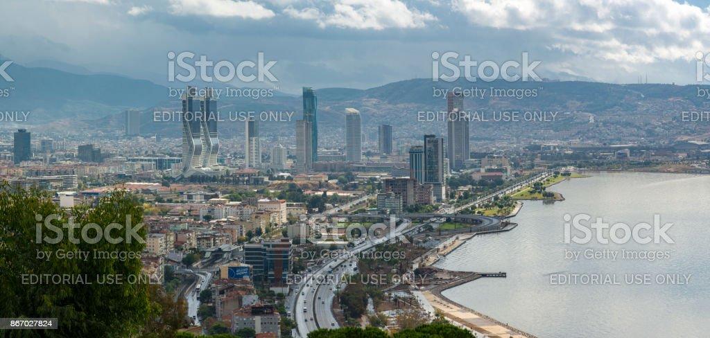 Bayrakli skycrapers district in Izmir stock photo
